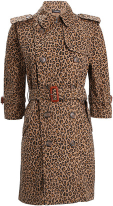 R 13 Leopard Double-Breasted Trench Coat