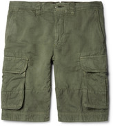 Incotex - Textured Cotton And Linen-blend Cargo Shorts