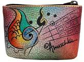 Anuschka Auschka 1031-Had Paited Leather-Coi Pouch Orietal Lotus