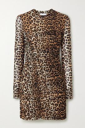 Ganni Ruched Leopard-print Stretch-mesh Mini Dress - Leopard print