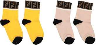Fendi Kids 2 pairs of FF stretch cotton-blend socks
