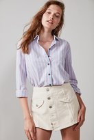 BDG Slim-Striped Button-Down Blouse