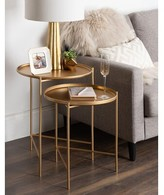 Bungalow Rose Petersburg Metal 2 Piece Nesting Tables Color: Gold