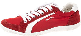 Prada Sport Red Leather and Nylon Low Top Sneakers Size 42