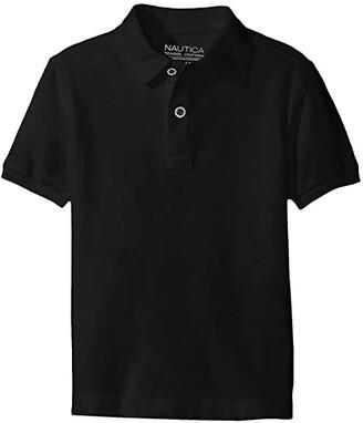 Nautica Short Sleeve Pique Polo (Big Kids) (Black) Boy's Short Sleeve Pullover
