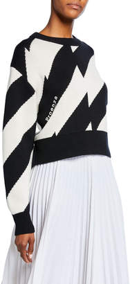 Proenza Schouler Pswl Striped Long-Sleeve Wool/Cotton Sweater