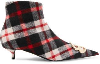 Balenciaga Knife Logo-embellished Tartan Wool Ankle Boots - Red