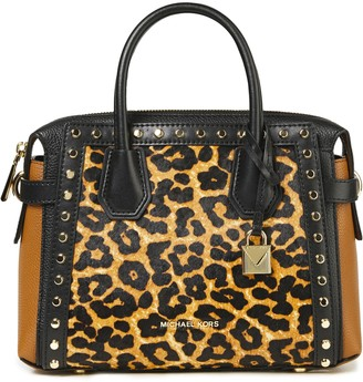 MICHAEL Michael Kors Studded Pebbled-leather And Leopard-print Calf Hair Tote