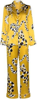 Olivia von Halle Lila Seduction snake-print silk pyjamas