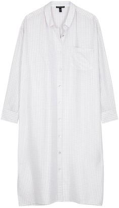Eileen Fisher White checked silk shirt dress