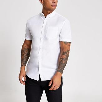 River Island White regular fit short sleeve Oxford shirt