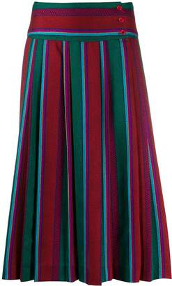 Kenzo Pre-Owned striped pleated knee-length skirt
