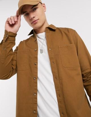 Topman cotton twill shirt in tobacco