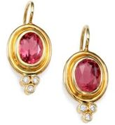 Temple St. Clair Classic Color Pink Tourmaline, Diamond & 18K Yellow Gold Petite Oval Drop Earrings