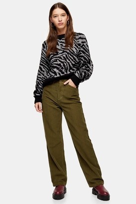 Topshop Forest Green Corduroy Parallel Jeans