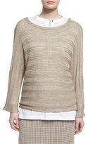 Misook Round-Neck Knit Sweater, Almond, Plus Size