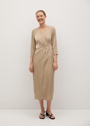 MANGO Wrapped satin dress gold - 4 - Women