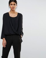 French Connection Poly Plains Pleat Back Wrap Top
