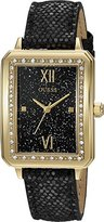 GUESS Women's U0841L1 Dressy Gold-Tone Watch with Black Dial , Crystal-Accented Bezel and Genuine Leather Strap Buckle