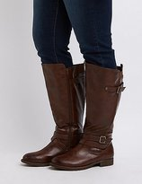 Charlotte Russe Wide Width Knee-High Moto Boots