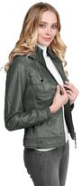 Made by Emma Faux Leather Rider Jacket With Detachable Hood Blue XL
