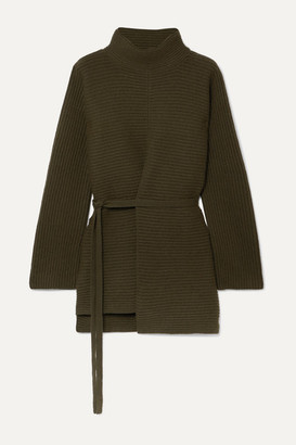 Vince Belted Asymmetric Ribbed Wool And Cashmere-blend Turtleneck Sweater - Army green