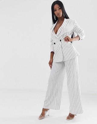 Asos Design DESIGN white pinstripe wide leg suit pants-Multi
