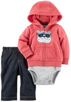 Carter's Baby Boy Dog Hooded Sweatshirt, Striped Bodysuit & Jeggings Set