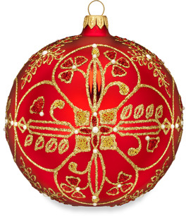 Waterford Holiday Heirlooms Beaded Lace 5-Inch Ruby Ball Ornament