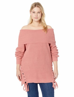 City Chic Women's Apparel Women's Plus Size Long Sleeve Neck Detailed Knit Jumper
