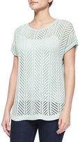 Belford Short-Sleeve Knit Pointelle Popover Top