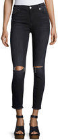 7 For All Mankind High-Waist Ankle Skinny Jeans, Dark Gray