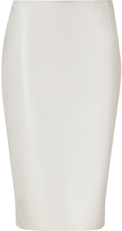 Ralph Lauren Cream Lacquered Leather Skirt