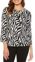 Rafaella Petite Zebra Grommet Neck Cotton Top