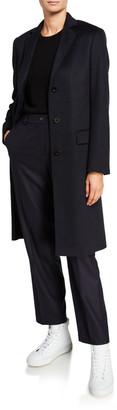 Agnona Cashmere Single-Breasted Slim Coat, Navy