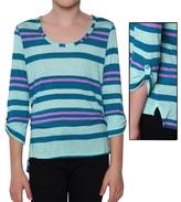 Splendid Girl's Tribeca Striped 3/4 Sleeve Top - Aqua