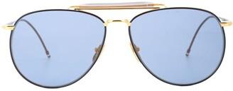 Thom Browne Eyewear Double-Bridge Aviator Sunglasses