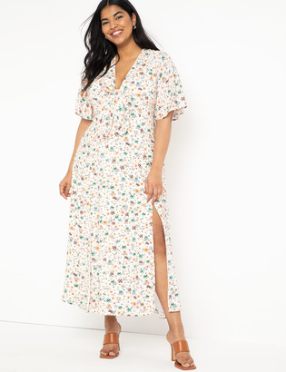 ELOQUII Flutter Sleeve Maxi Dress with Slits
