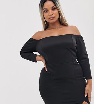 ASOS DESIGN Curve bardot long sleeve mini dress