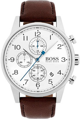 HUGO BOSS Men's Navigator Chronograph Watch with Leather Strap, White/Brown