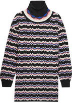 Missoni Wool-blend Crochet-knit Turtleneck Tunic - Pink