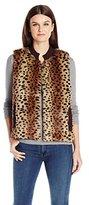Napa Valley Women's Faux Fur Sleeveless Mandaring Collar Vest with Rib Back