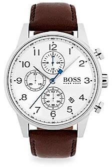 HUGO BOSS Men's Navigator Stainless Steel Chronograph Dark Brown Strap Watch