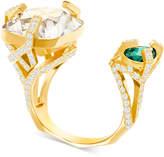 Swarovski Gold-Tone Stone & Pave Cuff Ring