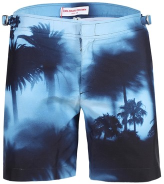 Orlebar Brown Blue Panoramic Palm Trees Swim Trunks