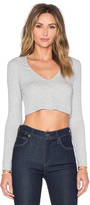 Lanston Deep V Long Sleeve Crop Top