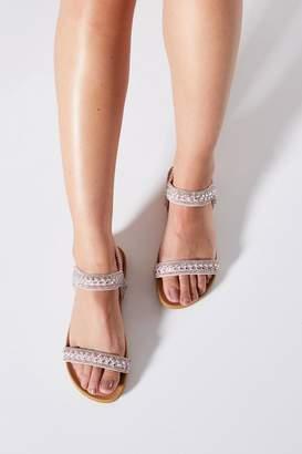 Quiz Comfort Pink Diamante Flat Sandals