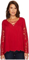 Scully Cloud Hi/Lo Blouse with Crocheted Sleeves Women's Blouse