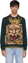Dolce & Gabbana Green Royal Lion Sweater