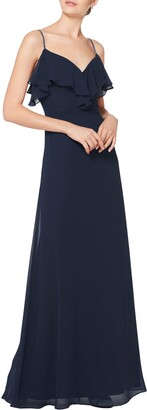 #Levkoff Embellished Ruffle Neck Chiffon A-Line Gown